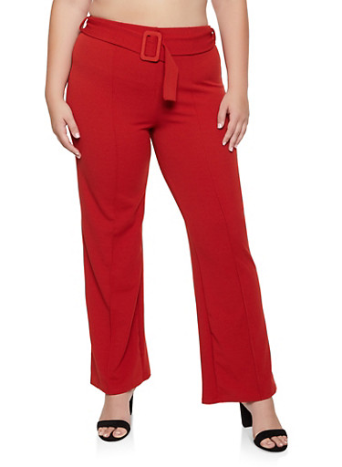 Plus Size Belted Pull On Dress Pants