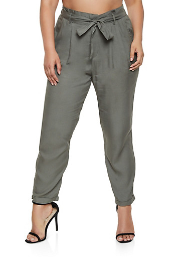 Plus Size Tie Front Cuffed Pants,OLIVE,large