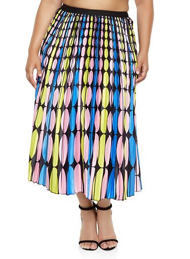 Plus Size Pleated Polka Dot Maxi Skirt,YELLOW,large