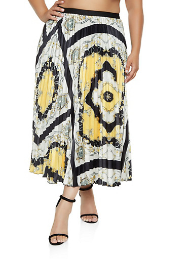 Plus Size Pleated Maxi Printed Skirt,BLACK,large