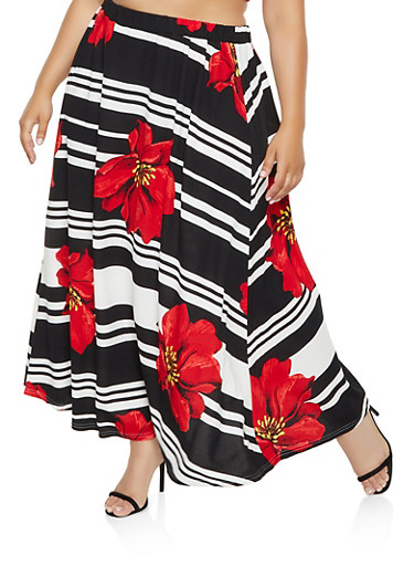Plus Size Printed Skater Maxi Skirt,BLACK,large