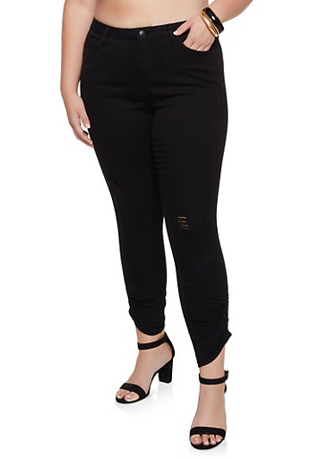 Plus Size Almost Famous Ruched Distressed Jeans,BLACK,large