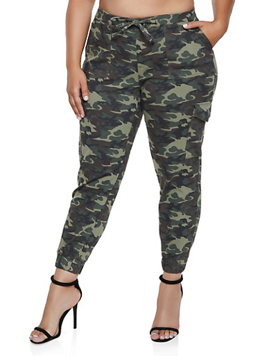 Plus Size Almost Famous Camo Cargo Joggers,OLIVE,large