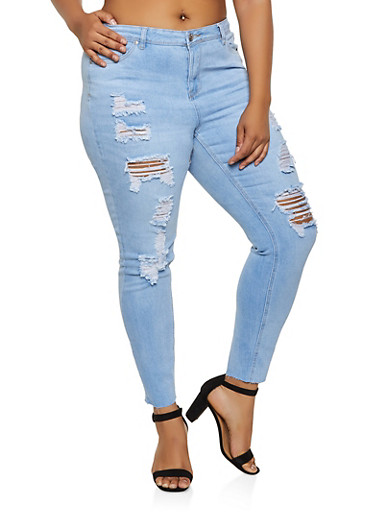 Plus Size Almost Famous Destroyed Jeans,LIGHT WASH,large