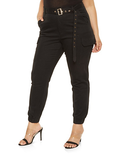 Plus Size Belted Cargo Joggers,BLACK,large