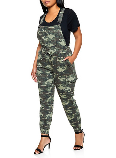 Plus Size Almost Famous Camo Denim Cargo Overalls,OLIVE,large