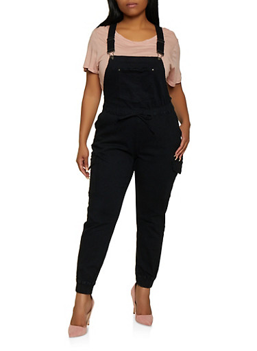 Plus Size Almost Famous Denim Cargo Overalls,BLACK,large