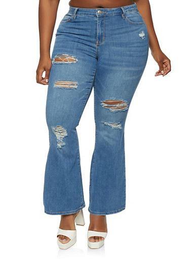 Plus Size Almost Famous Distressed Flare Jeans