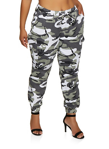 Plus Size Almost Famous Camo Cargo Joggers | 3870015991858,WHITE,large