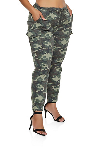 Plus Size Almost Famous Camo Cargo Joggers | 3870015992858,OLIVE,large