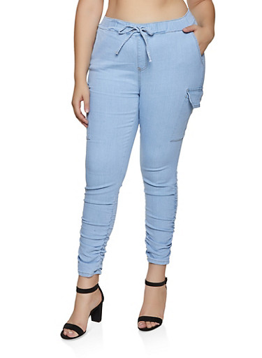 Plus Size Almost Famous Cargo Jeggings,LIGHT WASH,large