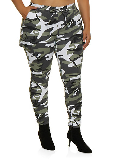 Plus Size Almost Famous Camo Cargo Jeggings,WHITE,large