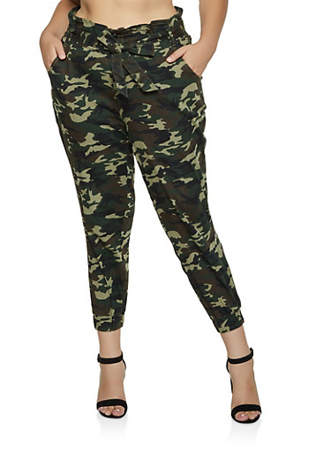 Plus Size Almost Famous Belted Camo Joggers,OLIVE,large