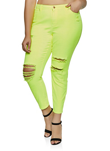 Plus Size Almost Famous Distressed Neon Skinny Jeans,NEON YELLOW,large