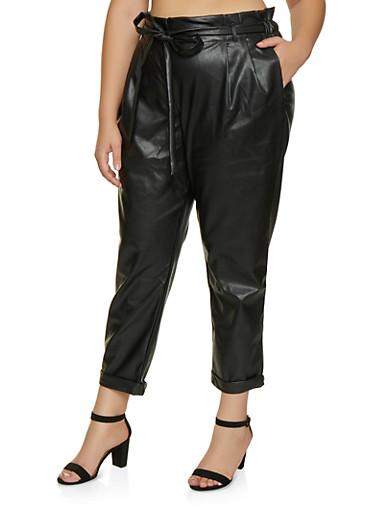 Plus Size Faux Leather Paper Bag Waist Pants,BLACK,large