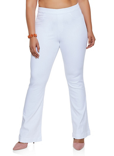 Plus Size Cello Flared Pull On Jeans | White,WHITE,large