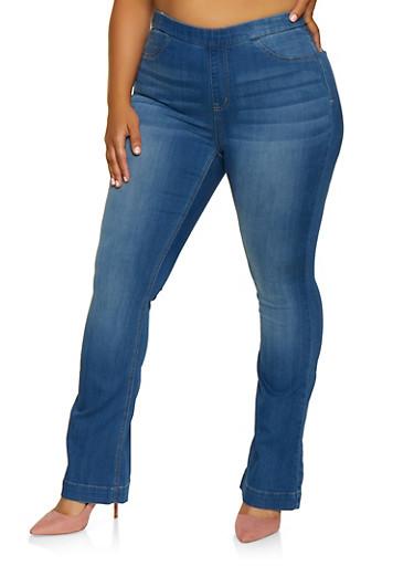 Plus Size Cello Flared Jeans,MEDIUM WASH,large