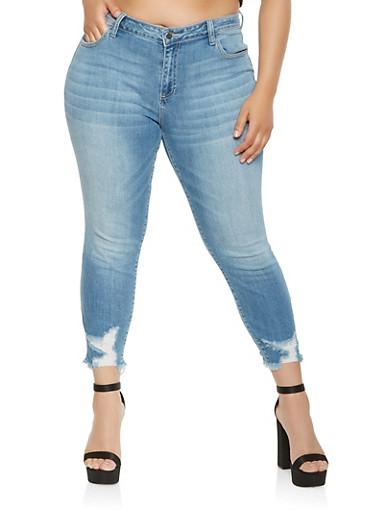 Plus Size Cello Frayed Hem Jeans,MEDIUM WASH,large