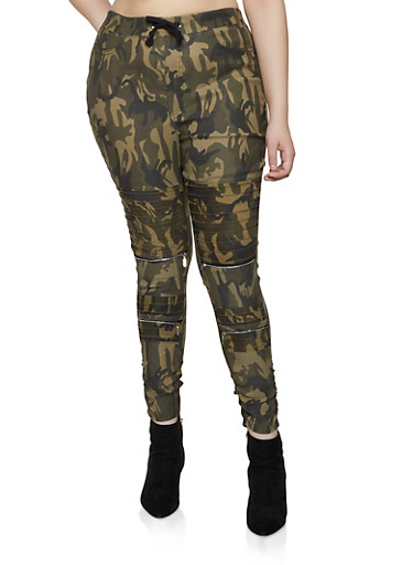Plus Size Camo Ruched Moto Jeggings,OLIVE,large