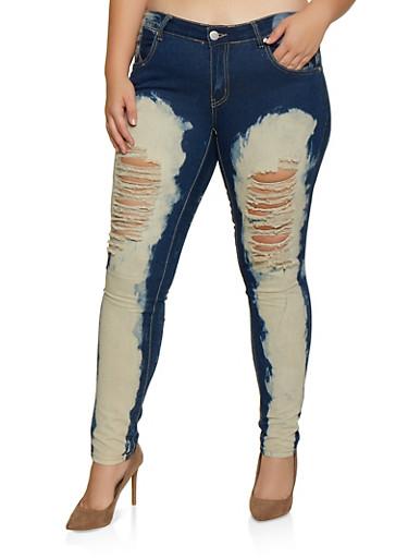 Plus Size Bleached Jeans,DARK WASH,large