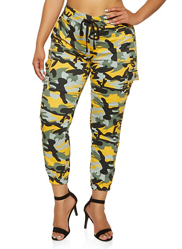 Plus Size VIP Drawstring Waist Camo Cargo Joggers,YELLOW,large