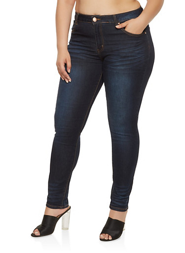 Plus Size VIP Push Up Jeans,DARK WASH,large
