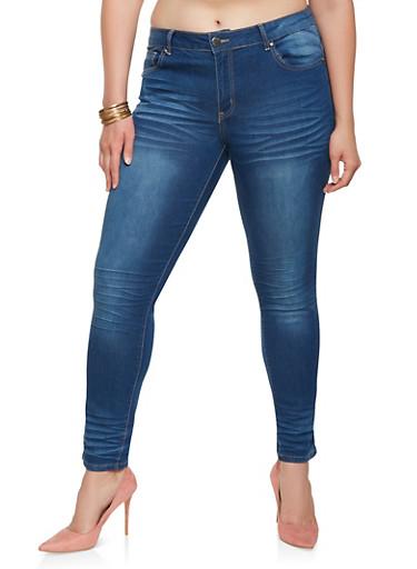 Plus Size VIP Push Up Jeans,MEDIUM WASH,large