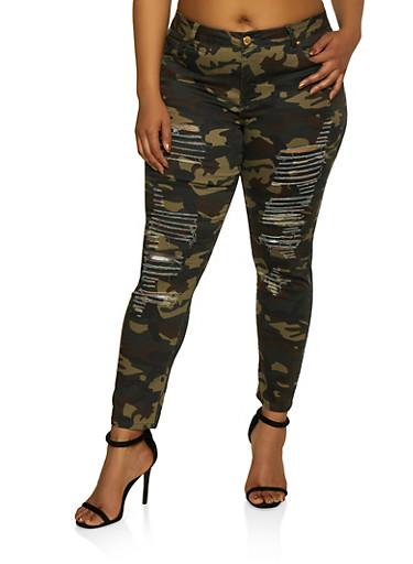 Plus Size VIP Destruction Camo Jeans,GREEN,large
