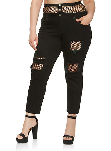Plus Size VIP Fishnet Trim Jeans,BLACK,large