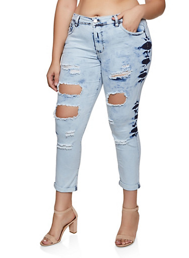 Plus Size VIP Ripped Jeans    3870065308833,DENIM,large