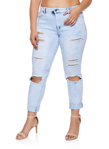 Plus Size VIP Ripped Cloud Wash Jeans,LIGHT WASH,large