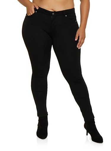 Plus Size Ponte Push Up Pants | 3870068194545,BLACK,large