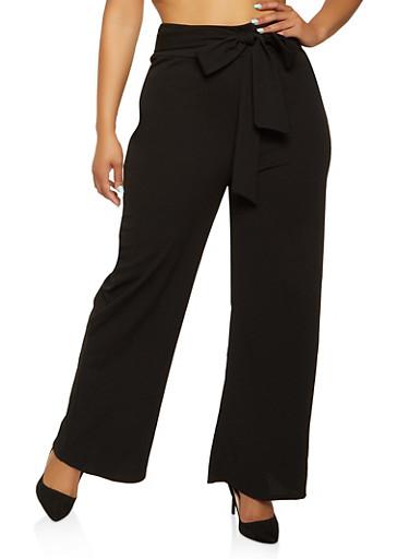 Plus Size Crepe Tie Front Palazzo Pants,BLACK,large