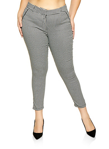 Plus Size Houndstooth Dress Pants,BLACK/WHITE,large