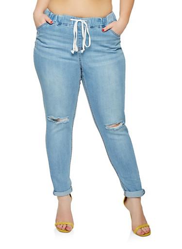 Plus Size Highway Drawstring Waist Jeans,MEDIUM WASH,large