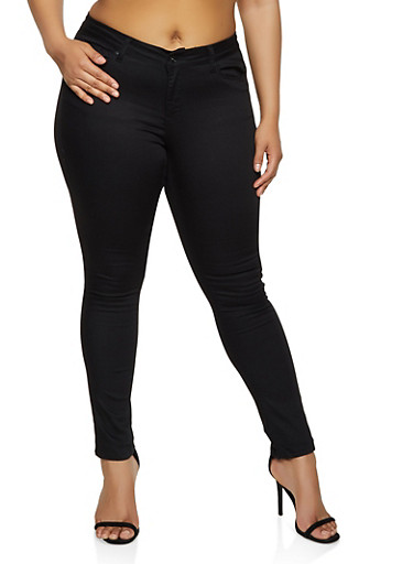 Plus Size WAX Solid Skinny Jeans,BLACK,large