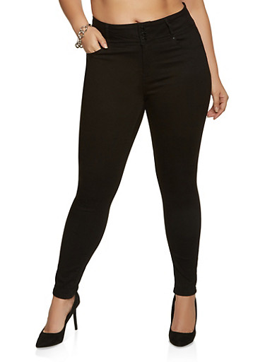 Plus Size WAX Push Up Jeans | 3870071610040,BLACK,large