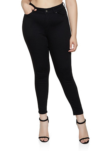 Plus Size WAX Push Up Skinny Jeans | Black,BLACK,large