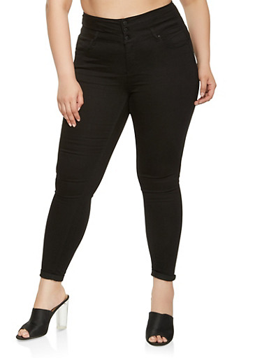 Plus Size WAX High Waisted Skinny Jeans,BLACK,large