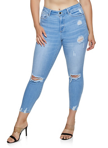 Plus Size WAX Distressed Push Up Jeans | 3870071610134,LIGHT WASH,large