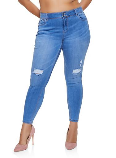 Plus Size WAX Push Up 2 Button Jeans,LIGHT WASH,large