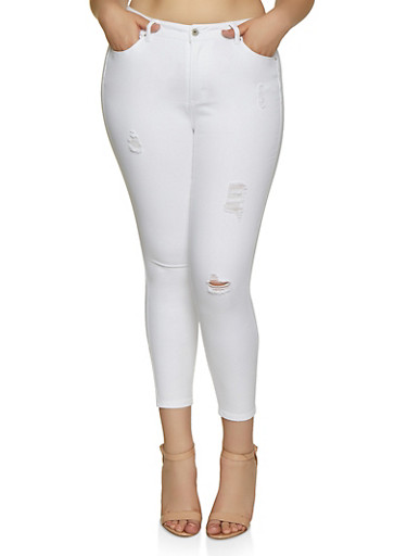 Plus Size WAX Push Up Distressed Jeans,WHITE,large