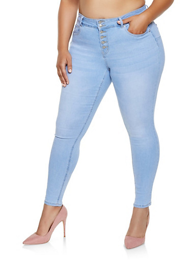 Plus Size WAX 6 Button Skinny Jeans,LIGHT WASH,large