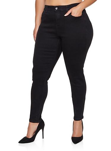 Plus Size WAX Push Up Solid Jeans,BLACK,large
