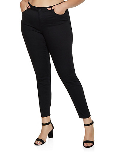 Plus Size Skinny Push Up Pants,BLACK,large