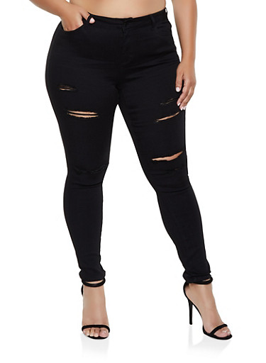 Plus Size WAX Ripped Jeans | 3870071610172,BLACK,large