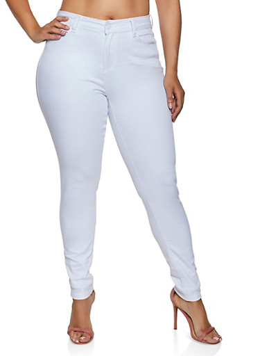 Plus Size WAX 1 Button Skinny Jeans,WHITE,large