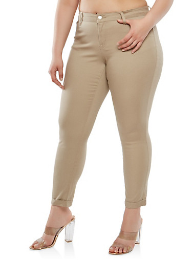 Plus Size WAX Colored Jeans,KHAKI,large