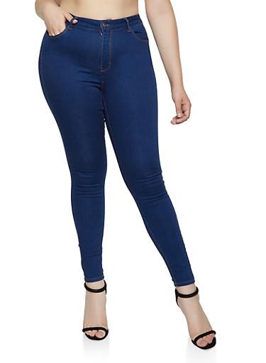 Plus Size WAX Push Up Skinny Jeans,DENIM,large