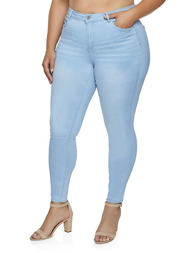 Plus Size WAX Whiskered Skinny Jeans,LIGHT WASH,large